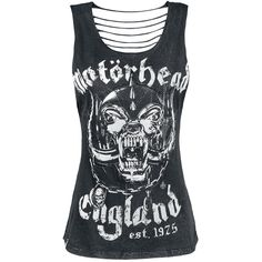 Motörhead Top from the Black Premium by EMP Signature Collection:    - cut-outs on the front  - slash look on the back  - crinkle snow wash  - front print  - label on the hem    Motörhead are true legends! The mixture of whiskey, rock'n'roll and the distinctive voice of the master Lemmy Kilmister is a real something. In collaboration with Motörhead Black Premium by EMP presents the Signature Collection. On the black top the band's mascot Snaggletooth is depicted. The vintage style...