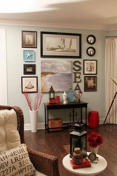 nautical wall arrangement | wall arrangement idea shared on FB by Caron's Beach ... | For the Home