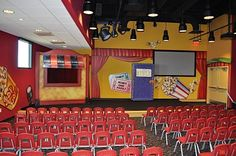 Worlds of Wow - the Big Book room for Kindergardeners at Gateway Church in Southlake, TX, includes a fun puppet stage and a huge book that opens up!