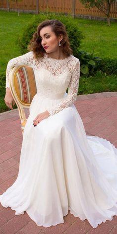 Wonderful Lace & Chiffon Jewel Neckline A-line Wedding Dress With Sequin Lace Appliques & Belt
