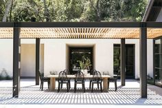 Chairs. Steel and wood Pergola. Concrete. ❤️ Sinegal Estate                                                                                                                                                                                 More
