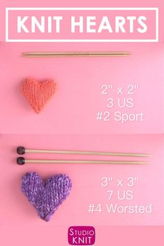 Knit Heart Softies Sizes with Sport and Worsted Weight Yarns by Studio Knit. Knitting Charts, Easy Knitting, Knitting Patterns Free, Knitted Flower Pattern, Knitting For Charity, Embroidery Hearts, Quick Knits, Christmas Knitting Patterns, Textiles