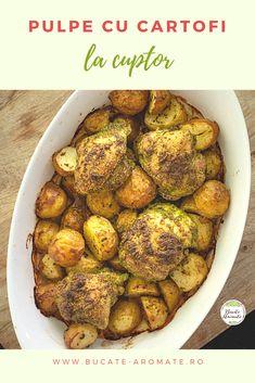 O rețetă simplă, dar savuroasă: pulpe cu cartofi la cuptor, aromatizate cu pesto de pătrunjel și parmezan. O mâncare numai bună pentru un prânz sau o cină în familie. #bucatearomate #pulpelacuptor #pulpecucartofi #cartofilacuptor #cartoficupulpe #retetecupulpedepui #pulpedepui #retetesimple Parmezan, Pesto, Sprouts, Vegetables, Food, Veggies, Veggie Food, Brussels Sprouts, Meals