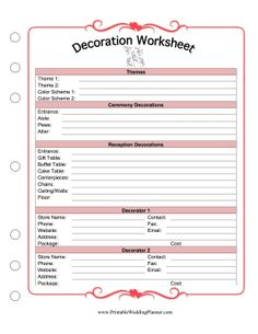 Brides and grooms can plan the colors, themes, and ceremony and reception decorations with this printable decoration worksheet. Free to download and print