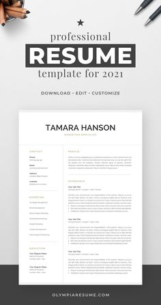 Professionally designed resume template that showcases your skills and experience in an elegant and effective way. The layout is optimized for building a resume that is informative, visually attractive and easy to navigate. The template package includes resume, cover letter and references templates in matching designs for creating a complete and consistent job application quickly and easily. Build your new resume now! #resume #resumetemplate #cv #cvtemplate #jobsearch #jobhunt #careeradvice Creative Cv Template, One Page Resume Template, Modern Resume Template, Cover Letter For Resume, Cover Letter Template, Resume References, Microsoft Word 2007, Planning Budget, Resume Tips