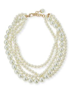 "Simulated Pearl Multi-Strand Necklace, 16"" Exclusively Ours. Lulu Frost multi-strand necklace. Mixed-size glass simulated pearls. Pearly end with petal cap and crystals. Approx. 16""L with 1"" extension. Lobster clasp. Imported."