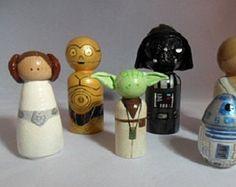 Star Wars inspired wooden pegs, wooden Star Wars pegs, Luke, Darth Vader, C3PO, R2D2, Yoda, Leia