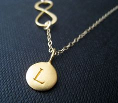 Infinity & initial necklace personalized jewelry by NYmetals