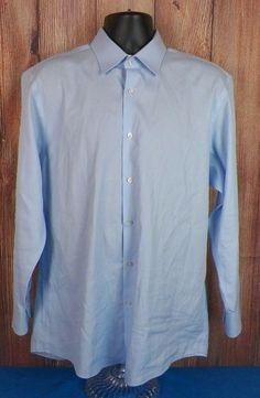 Hugo Boss Mens Long Sleeve Dress Shirt Blue Striped 17 - 32/33 Straight Collar #HUGOBOSS