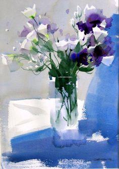 Zhao Zhiqiang watercolor via Margaret Brown. Colorful Art, Art Painting, Flower Art, Floral Art, Watercolor Paintings, Painting, Still Life Flowers, Watercolor Flowers, Art