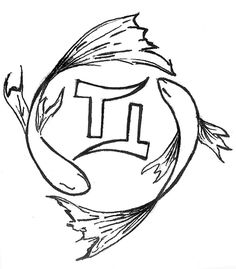 Gemini Tattoo With Fishes Design | Tattooshunt.com