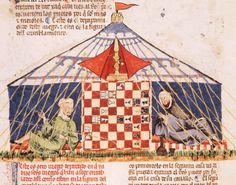 Two Arabs playing chess, Spanish Medieval manuscript Book of Games by Alfonso X, King of Spain, ca. 1251-1282