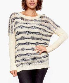 Cream & Navy Crochet Scoop Neck Sweater