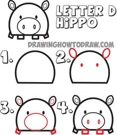 how to draw cartoon hippos from the letter D shape