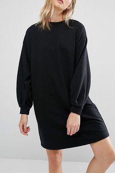 Black Chunky Lantern Sleeve Loose Casual Dress