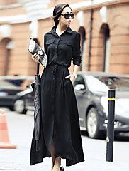 Ample Robe Femme Décontracté / Quotidien simple,Couleur Pleine Col de Chemise Maxi Manches Longues Rayonne Printemps Taille HauteNon