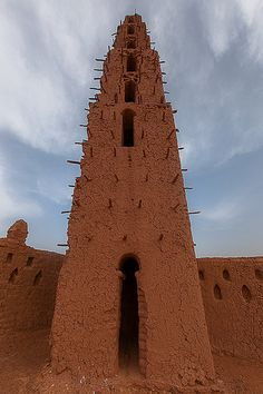 A mud minaret near the Bani River in northern Burkina Faso.  (Mud architecture in West Africa)