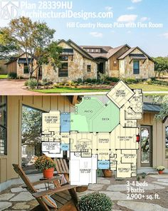 Architectural Designs Hill Country House Plan gives you 3 to 4 beds and over 2900 square feet of living. Plus a great outdoor space in back perfect for entertaining friends. Dream House Plans, House Floor Plans, My Dream Home, Dream Homes, Layouts Casa, House Layouts, Flex Room, Up House, Building A Shed