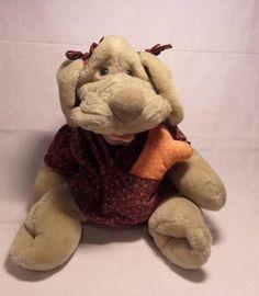 Wrinkles Plush Dog Hand Puppet Ganz Dress Bone Collar Tag