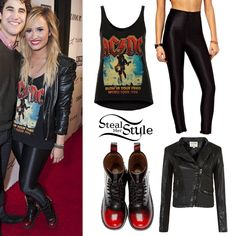 Demi Lovato performed at the We Day festival in Toronto today wearing an ACDC Vest By And Finally (£22.00) from Topshop, the American Apparel Disco Pants ($85.00) and her Jeffrey Campbell Leather 8th Street Spiked Red Toe Boots, which are sold out but the Black Patent version are still available here ($139.96). You can get a similar leather jacket from New Look (£39.99) and disco pants for $38.80 at ASOS. Perrie Edwards also owns this tank top.