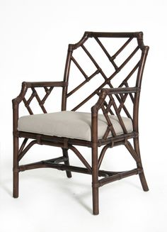 Bamboo Chippendale Arm Chair in Mahogany - Design Chic