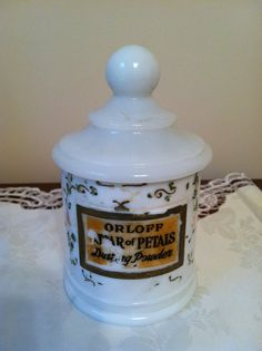 Milk Glass Orloff Attar of Petals Dusting Powder Jar--mine is missing the top, so the search continues!