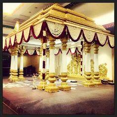 Mandap decor Marriage Hall Decoration, Wedding Hall Decorations, Engagement Decorations, Indian Wedding Stage, Indian Weddings, Indian Bridal, Mandap Design, Backdrop Design, Traditional Wedding Decor