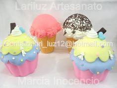 Cupcake e Sorvetes Fakes ideal para decoração de mesas
