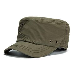 80b4abc624167f Mens Cotton Breathable With Ventilation Holes Flat Top Caps Outdoor  Sunshade Military Army Hat