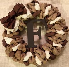 Choose your Letter - Burlap Wreath with Monogram Initial Letter - Spring Summer Fall Winter Wreath by ByJoshica on Etsy https://www.etsy.com/listing/237610665/choose-your-letter-burlap-wreath-with
