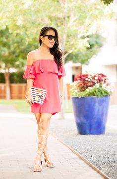 cute & little blog   petite fashion   pink off-shoulder ruffle dress, kate spade toucan striped clutch, gold strappy gladiator sandals, baublebar statement earrings   spring summer outfit
