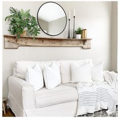 Living Room Decor Above Couch, Decor Above Sofa, Wall Behind Couch, Living Room Mirrors, Mirror Over Couch, Shelves Over Couch, Mirror Mirror, Living Room Decor Accents, Wall Decor With Mirrors