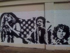 Janis Joplin, Jimi Hendrix and Jim Morrison. Graffiti in Austin