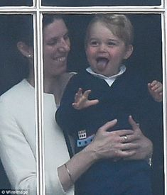 Familiar face: While being held up to the windows of Buckingham Palace, Prince George was pictured pulling an expression that bares a striking resemblance to the face Prince Harry pulled when he first appeared on the palace balcony Baby Prince, Prince And Princess, Princess Kate, Prince Harry, Duchess Kate, Duke And Duchess, Duchess Of Cambridge, Princesa Charlotte, Prince George Alexander Louis