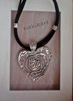 Collar Corazón XL Plateado, 4 cordones antelina gris o negra -Rebajas 20% de Nahikare en Etsy