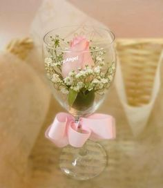 Wine glass flower bouquet - Single Pink Rose and Baby Breath in Wine Glass with Ribbon:):