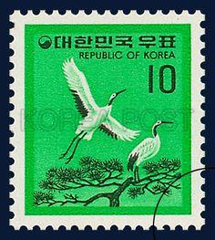 DEFINITIVE POSTAGE STAMP, Red-Crowned Crane, Bird, Green, white, 1979 05 31, 보통우표, 1979년 5월 31일 1137, 두루미, postage 우표