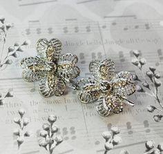 Vintage Jewelry Set, Shamrock Clover Flower Brooches / Scatter Pins, Rhinestones, Silver Filigree, 1950s Mad Men, St Patricks Day by TheGildedSwan, $14.00