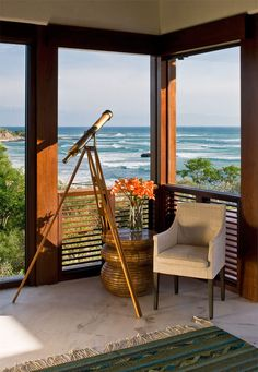 Gorgeous nook at Casa Tres Soles beach house in Mexico with a telescope for Carter.