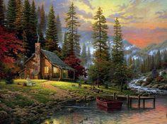 Разрешение 2560x1600, thomas kinkade, живопись, A peaceful retreat, forest, painting, dogs, house, уже 31356-я картинка в базе z