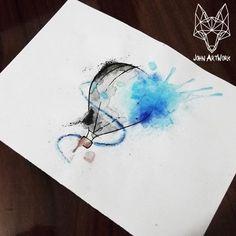 #hotairballoon #balloon #watercolor #drawing #tattooideas #tattoo #artwork #john_artwork #john artwork #aquarela #balão #balãodearquente