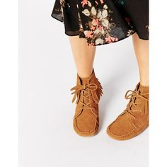 ASOS ABBOTT Suede Fringe Ankle Boots (79 AUD) ❤ liked on Polyvore featuring shoes, boots, ankle booties, chestnut, ankle boots, suede fringe boots, suede fringe booties, fringe booties and moccasin boots