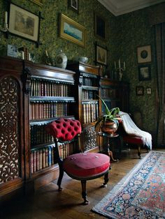 Lanhydrock House Bookcase With Dust Flaps.