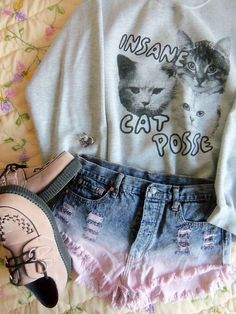 .Insane Cat Posse - links to etsy grunge cats pink selfie cute hipster k follow in insta @krawraw