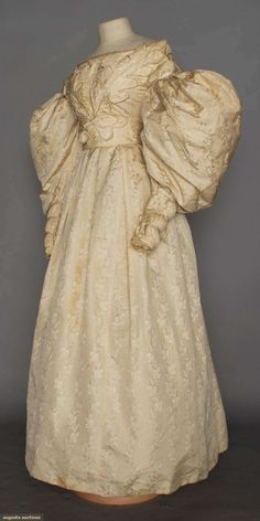 Silk Damask Wedding Gown, Late 1830s, Augusta Auctions, November 11, 2015 NYC