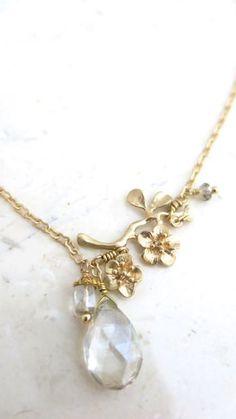 Golden Flowering Branch Necklace