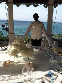 WeddingMoon dinner setting - In White with Sea Glass and of course White Glove Service - August 2012