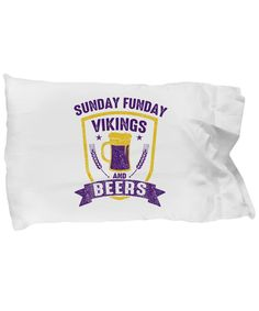 Sunday Funday Vikings And Beers Football Bedding Pillow Case