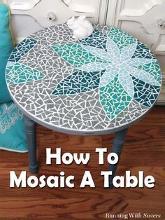 DIY Mosaic Table - Learn how to mosaic a table including how to transfer a design, cut tiles, and mix and apply grout. This complete step by step tutorial includes step photos and a downloadable, printable template. Great DIY home decor project!