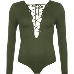 Rachelle Ribbed Lace Up Bodysuit ($26) ❤ liked on Polyvore featuring intimates, shapewear, bodysuits, tops and green